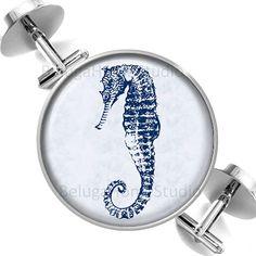 Cufflinks Nautical Blue Seahorse Groomsmen by BelugaHomeStudio, $39.95