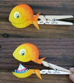 """fish clothes pin by Molas & Co.--it would be easy to make lots of these """"puppets"""" for creative play Kids Crafts, Bible Crafts, Preschool Crafts, Jonah And The Whale, Clothes Pegs, Church Crafts, Sunday School Crafts, Kids Church, Diy For Kids"""