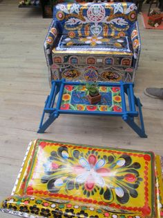 'Upcycling in Bangladesh'  This was a funky table/chair combo made from old Rickshaw art and metallic seats.
