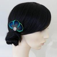 Peacock Feather Hair Clip Bridesmaids Accessory Crystal Blue Fascinator Tahlia
