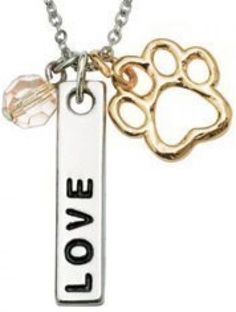 Signs and Plaques 46299: Rockin Doggie Paw Necklace, Love Bar And Pink Crystal Bead BUY IT NOW ONLY: $35.98