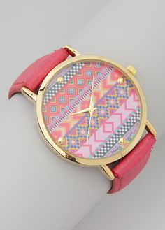 Pink & Blue Tribal Leather-Band Watch