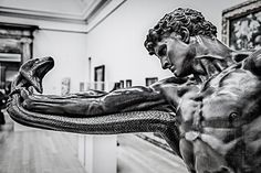 """The story behind Hercules and the Hydra goes like this: King Eurystheus told Hercules he had to go kill the Hydra. The Hydra was a huge snake with seven heads. Hercules thought, """"Well, that s… Ancient Greek Sculpture, Greek Statues, Statue En Bronze, Greek Mythology Tattoos, Hercules Mythology, Statue Tattoo, Art Sculpture, Roman Sculpture, Greek Art"""