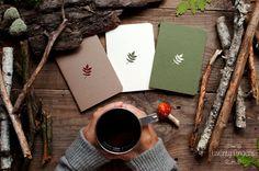 Cuaderno de bosque con un conjunto de patrón tallado - hoja - del cuaderno 3 (tamaño pequeño)  -A6 - 100 x 140 cm (5.5 x 3.9 pulgadas) -doble