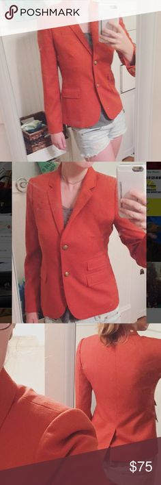 J. Crew Schoolboy Blazer Size 4 with no snags/stains! The blazer is a warm orange color with white and navy striped liner. Very flattering fit! There are four pockets accessible from the outside, and one on the inside. Excellent used condition. Feel free to ask any questions or MAKE AN OFFER! ✨ J. Crew Jackets & Coats Blazers
