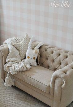 Dear Lillie: A Little Peek at Lillie's New Room. Chesterfield Chair, Armchair, Dear Lillie, Nursery Themes, New Room, Girl Nursery, Pink Girl, Accent Chairs, Couch