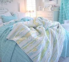 summers cottage bedding   summers cottage bedding   SHABBY BEACH COTTAGE CHIC BLUE YELLOW RAG ...