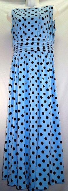 LOVELY Blue and Brown Polka Dot Stretch Dress! Women Sz 12 #Perceptions #Maxi #PolkaDot #TummyConcealing Sleeveless Dress #WomensFashion #PrettyWoman Style #CasualDress