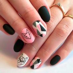geometric nails #emocionante Plum Nails, Edgy Nails, Stylish Nails, Trendy Nails, Gel Nails, Cute Acrylic Nails, Cute Nails, Animal Nail Designs, Manicure Nail Designs