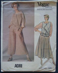 Vintage Vogue Pattern 1459 Adri Vest Skirt by DebraDixonDesign Vintage Vogue Patterns, Skirt Pants, Casual Chic, 1980s Style, Normcore, Vest, 1990s, Skirts, Size 10