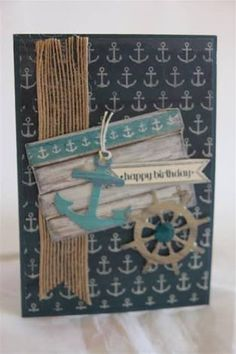 """Kaisercraft """"Happy Birthday"""" Card (using 'Sandy Toes' collection) by Helen of Helen's Card Designs ~ Cards - Clean + Simple. Masculine Birthday Cards, Handmade Birthday Cards, Happy Birthday Cards, Masculine Cards, Card Tags, I Card, Boy Cards, Men's Cards, Nautical Cards"""