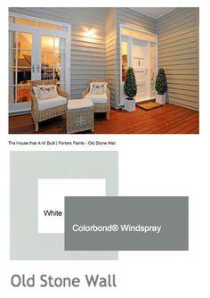 Exterior Colour Scheme  Render - Porters Old Stone Wall | Windows & Trim - White | Roof - Windspray