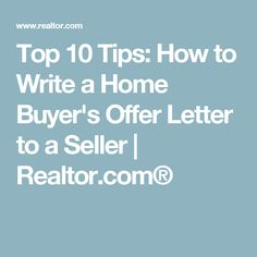 How To Write An Offer To Purchase Letter  House And Real Estate