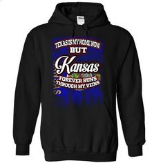 Texas is my home now but Kansas forever runs through my - #tshirt bemalen #sweater storage. CHECK PRICE => https://www.sunfrog.com/LifeStyle/Texas-is-my-home-now-but-Kansas-forever-runs-through-my-veins-9322-Black-Hoodie.html?68278