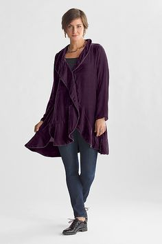 """Premiere Velvet Jacket"" Created by Cynthia Ashby As easy to wear as your favorite big shirt, yet begging to be invited to a party, the charm of this sumptuous velvet jacket lies in its fluttery, petal-like seaming and asymmetric cut."
