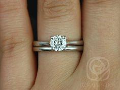 Flora 6mm 14kt White Gold Round FB Moissanite Tulip Cathedral Solitaire Wedding Set (Other metals and stone options available)