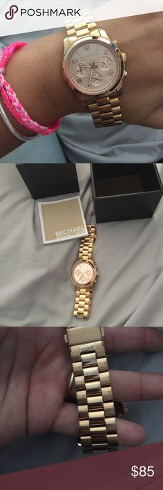 Michael Kors over sized watch rose gold Rose gold tone..You can remove links. Has minor scratches from being used, so it has normal wear, nothing major. They are faint to the eye. Price is firm on posh. Better offer on V E N M O. Firm Michael Kors Accessories Watches