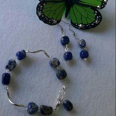 Lapis lazuli and silver plated set handmade by me.   Nalita.etsy.com Sylviescreations@ymail.com
