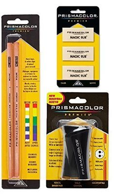 Prismacolor Premier Accessory Set, Includes Colorless Blender Pencils (2 Piece), Premier Pencil Sharpener(1 Piece) &  Magic Rub Erasers (3 Piece)
