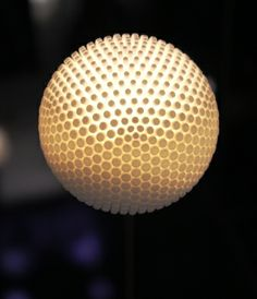 3D printed lamp by Promundus. Light and Building 2014. Photo by Lichtinspiratie