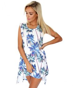 Stylish Ladies Women Sleeveless O-Neck Print Asymmetric Casual Loose Shift Dress_Dresses_Women_Women's Fashion Zone & Best Price Clothes