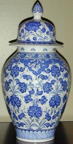 "Ottoman Iznik Style 13"" (33cm) Handpainted Turkish Ceramic Canister Jar Urn"