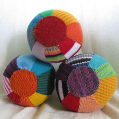 Mini Rainbow Sweater Balls WOOL Stuffed - Set of Three  by handmadepretties $35.00