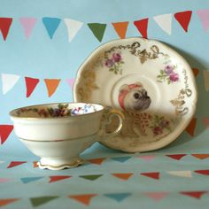 Illustrated Tiny Vintage Cup and Saucer Set Gold Edges and Intricate Floral with Baby Pug