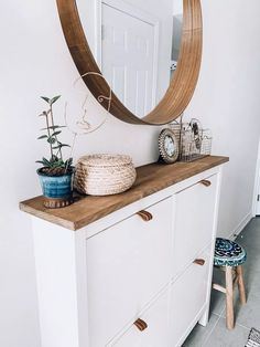 home. DIY boho IKEA Hemnes shoe cabinet hack with a wooden countertop Raising Confident Girls Articl Ikea Hacks, Diy Hacks, Shoe Rack Hacks, Shoe Racks, Ikea Hemnes Shoe Cabinet, Hemnes Ikea Hack, Ikea Hemnes Tv Stand, Ikea Dresser, Ikea Malm