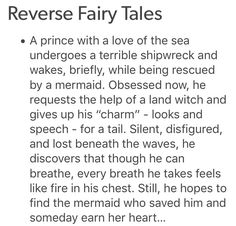 As well as the mermaid ending up a man, because the original story was a love letter from a man to a man.