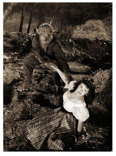 """""""House of Frankenstein"""" (1944) - The Wolf Man, Larry Talbot (Lon Chaney, Jr.) & Ilonka, the Gypsy (Elena Verdugo)"""