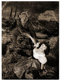 """House of Frankenstein"" (1944) - The Wolf Man, Larry Talbot (Lon Chaney, Jr.) & Ilonka, the Gypsy (Elena Verdugo)"