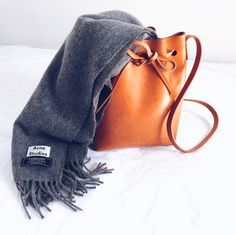 #mansurgavriel bucket bag + #acnestudios scarf