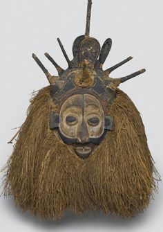 Ndeemba Mask for N-khanda Initiation, early 20th c., wood, fiber, pigment, culture Yaka, Kwango or Kwilu Province, Democratic Republic of the Congo.