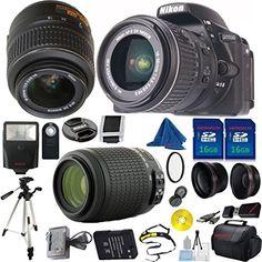 Nikon D5500 DX-Format DSLR Digital Camera Body, Nikon 18-55mm VR Lens, Nikon 55-200mm f4-5.6G ED Auto Focus-S VR Nikkor, 2pcs 16GB DBPREMIUM Memory, Case, Wide Angle, Telephoto, Flash