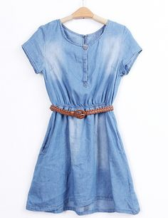 #SheInside Blue Short Sleeve Bleached Belt Denim Dress