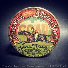 Chips wick Saddle Soap tin can with Horse and Jockey