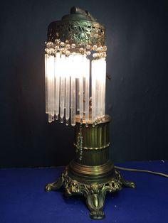 Fine antique victorian table lamp wcrystal lustres c1900 antique art nouveau victorian era fantasy brass table lamp w orig art crystals aloadofball Choice Image