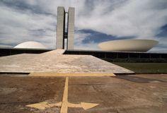 Rene Burri BRAZIL. Brasilia. Palacio do Congreso Nacional (designed by Oscar Niemeyer), 1977.