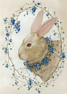 Vintage Bunny Art: blue and white; bunny with blue berries on vine Easter Art, Easter Crafts, Easter Bunny, Happy Easter, Easter Eggs, Easter Decor, Vintage Cards, Vintage Postcards, Lapin Art