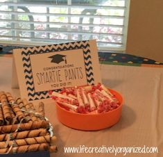 10 easy graduation party food ideas! Smarties candies for all those smarty pants!