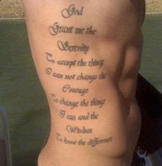 Serenity Prayer Rib Tattoo