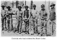 The Black Codes were laws passed by Southern states in 1865 and 1866.  It's intent was to restrict African American's freedom and force them to work in a labor economy based on low wages or debt, very similar to slavery.  The purpose of these was to maintain white supremacy in some people's eyes.