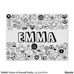 Shop 'EMMA' Colour-it-Yourself Outline Design Poster created by LittleOlive. Name Coloring Pages, Disney Coloring Pages, Coloring For Kids, Adult Coloring, Coloring Books, Ella Name, Aesthetic Names, Dont Touch My Phone Wallpapers, Name Wallpaper