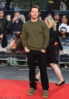 Leading man: Mark Wahlberg, 45, took centre stage at the Deepwater Horizon premiere at Cineworld Leicester Square, London on Monday evening