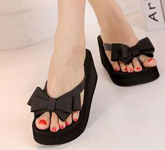 4b43207374913f AUAU Ladies Summer Platform Flip Flops Thong Wedge Beach Sandals Knot Bow  Shoes-in Slippers from Shoes on Aliexpress.com