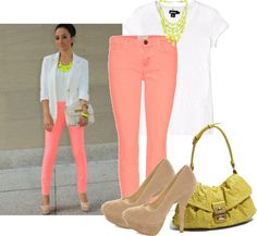 """inspirada summer 2012 neon skinny jeans"" by aineetiny on Polyvore"