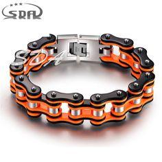 Bracelet Chaine Moto Stainless Steel 316L 20MM Wide Orange Black