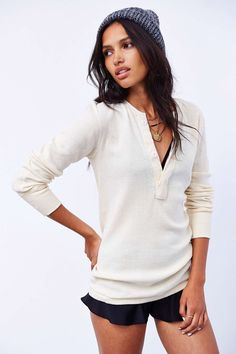 Henley with oversize buttons. What's not to love? Urban Renewal Surplus Henley Top
