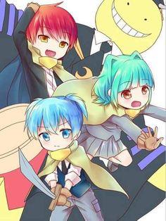 Karma, Kayano, Nagisa & Koro-sensei - Assassination Classroom